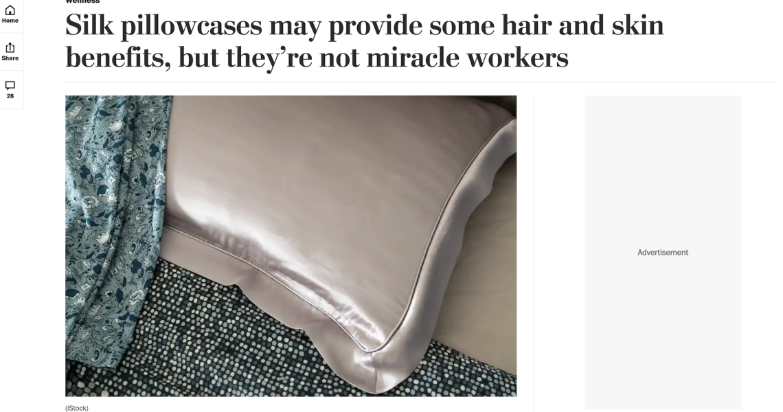 Wash Post Article Title: Silk pillowcases may provide some hair and skin benefits, but they're not miracle workers